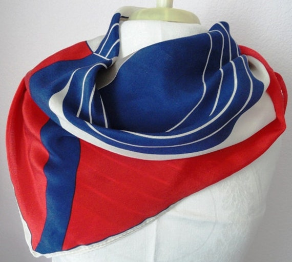 Free US Shipping Vintage Vera Rare XL Silk Red White, Blue and Gray Prima Collection Geometric Mod Print
