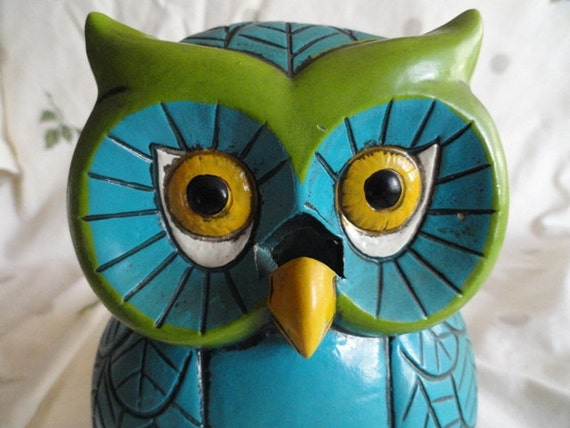 Vintage owl votive, turquoise, green, and yellow, funky flower power candle holder