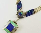 Vintage Navajo Lapis Turquoise Azurite Sterling Necklace Liquid Silver