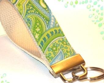 Wrist Key Chain - Key Fob Wristlet Keychain - Paisley Ocean Green