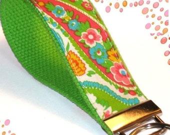 Wrist Key Chain - Key Fob Wristlet Keychain - Pretty Green Paisley