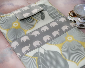 """Macbook Sleeve, macbook caes, 13"""" macbook sleeve, 11 Macbook Case, Made to fit any 11-13 laptop in Elephant Elegance"""
