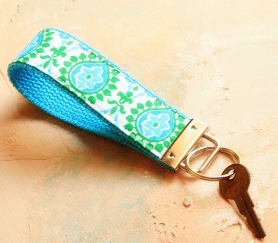 Wrist Key Chain , Key Fob Wristlet Keychain, key ring, Fabric Key Holder in Paisley Please