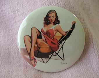 Retro Beautiful Pin Up girl Pocket Mirror