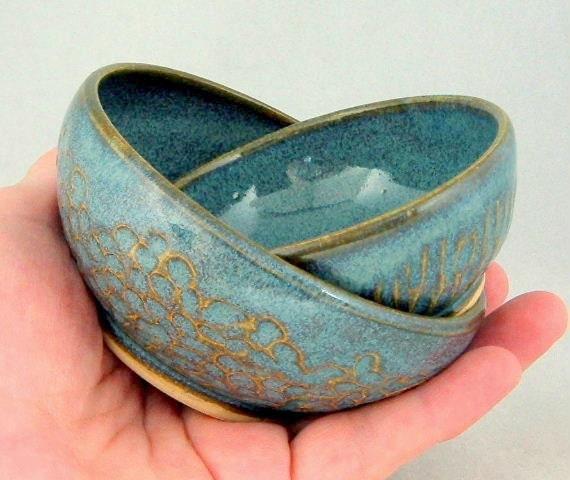 Textured Nik-Nak Bowls - Variegated Blue