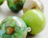 Green Chunky Mosaic Tan Ceramic Howlite - Carmel Appletini Handmade Bracelet