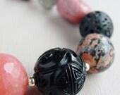 Black Agate Pink Rhodonite Jasper Fluorite Jade - Midnight Kiss Handmade Bracelet
