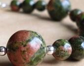 Green Pink Unakite Beaded Bracelet - Blushing Moss Handmade Bracelet