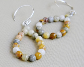 Tan Crazy Lace Agate Loop Cream Natural Gray - The Beach Handmade Earrings