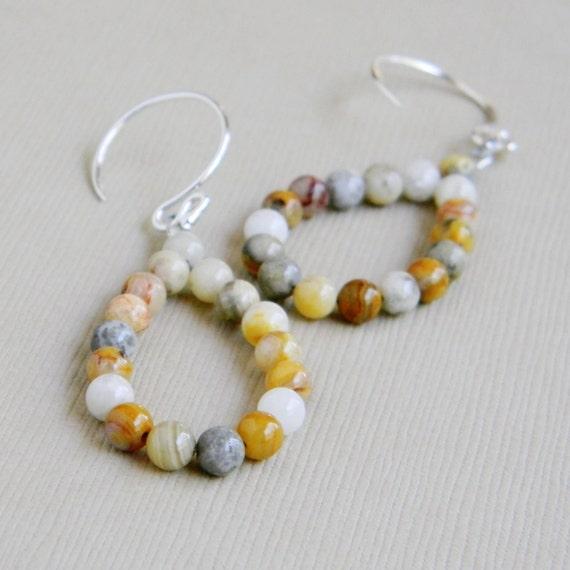 Tan Crazy Lace Agate Loop Cream Natural Gray - The Beach Handmade Earrings