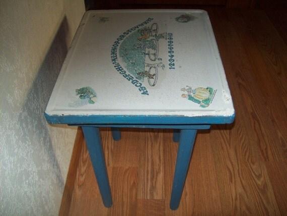 1940s Childs Porcelain Enamel Top Table