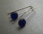Sterling Silver Earrings - Cobalt Blue Glass Beads - Short - Simple Modern Minimal Beaded Earrings