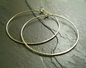 14K Yellow Gold Filled Earrings - 1.5 Inch Medium Hoops - Hammered - Thin and Dainty - Simple Modern Minimal Wire Jewelry