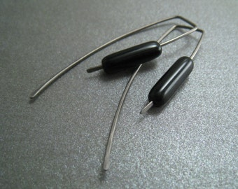 Niobium Dangle Hook Earrings - Jet Black Glass Tube Beads - Hypoallergenic - Simple Modern Minimal Beaded Wire Jewelry