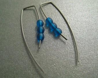 Niobium Dangle Hook Earrings - Deep Teal Glass Beads - Hypoallergenic - Simple Modern Minimal Beaded Wire Jewelry