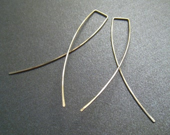 14K Yellow Gold Filled Dangle Earrings - 2 Inch Long - Hammered - Thin and Dainty - Simple Modern Minimal Wire Jewelry