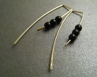 14K Yellow Gold Filled Dangle Hook Earrings - Black Glass Beads - Simple Modern Minimal Beaded Wire Jewelry
