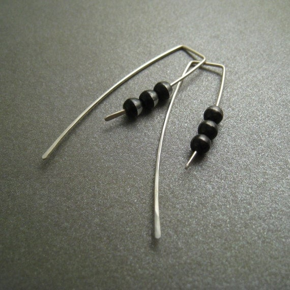 Sterling Silver Earrings - Two Tone Clear and Black Glass Beads - Modern Minimal Simple Beaded Earrings