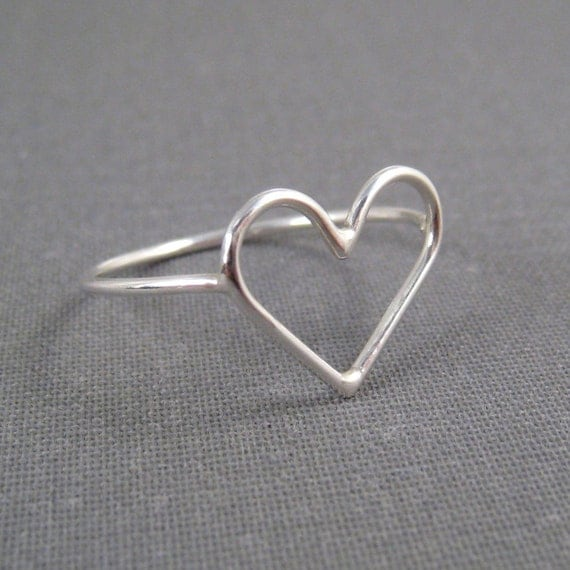 Sterling Silver Ring - Open Heart - Simple Modern Minimal Ring