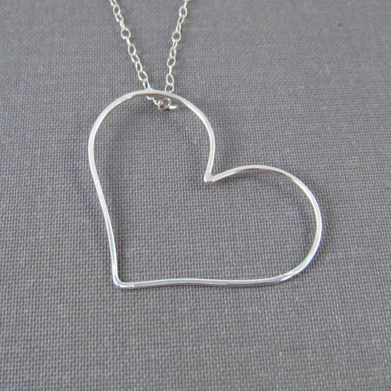 Sterling Silver Necklace - Hanging Heart - Simple Modern Minimal Necklace