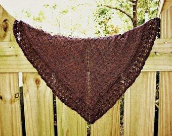 PDF Knitting Pattern / Went Berrying One Skein Sock Yarn Triangle Shawl