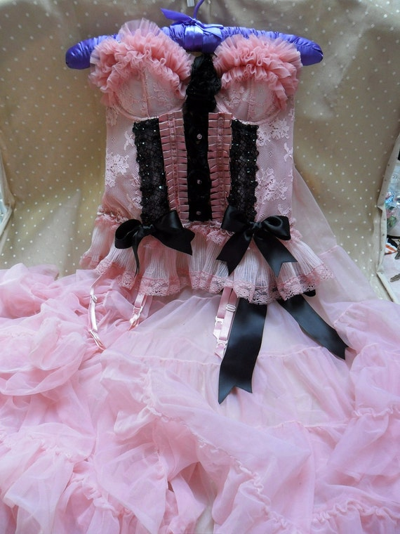 SUPER SALE - Burlesque Betty - Vintage Bustier and Petticoat - 2 PC Make Over