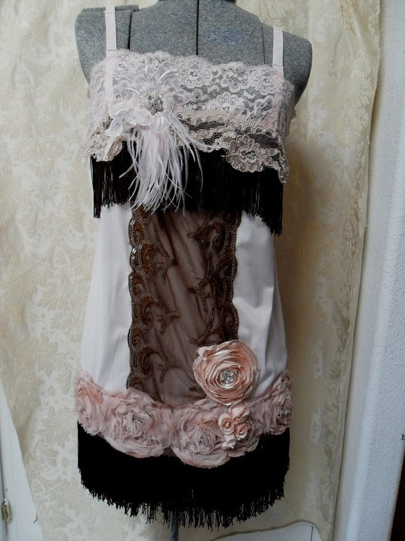 ROARING 20s Flapper Girl 1920s Fringe Jazz Age Speakeasy Great Gatsby   - Vintage Slip Make Over - Chocolate and Pink
