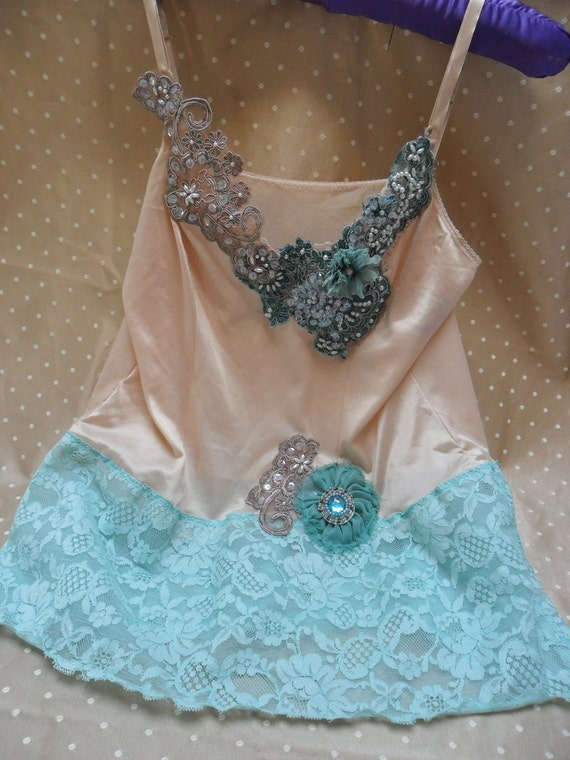 SUPER SALE - Where The Sand and The Sea Meet - Vintage Cami Make Over