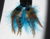 Peacock Feather Earrings Tribal Turquoise