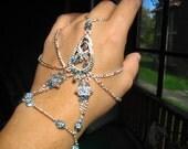 Slave Bracelet Hand Adornment in Aquamarine Swarovski Crystals, Belly Dance, Weddings, Mid-evil