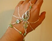 RESERVED FOR LISA Slave Bracelet Hand Adornment with Peridot Green Swarovski Crystals, Belly Dance, Weddings, Mid Evil