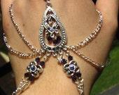 Slave Bracelet Hand Adornment in Velvet andTanzanite Purple Swarovski Crystals, Belly Dance, Weddings, Mid-evil