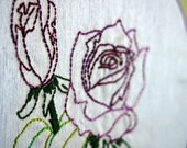 Hand Embroidered Purple Rose Duo in 8 inch Hoop