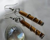 Wire wrapped cylinder beads-brown-look like sticks-nature-vertical-wire swirls