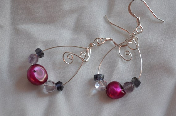 Earrings with wire and pink and purple beads