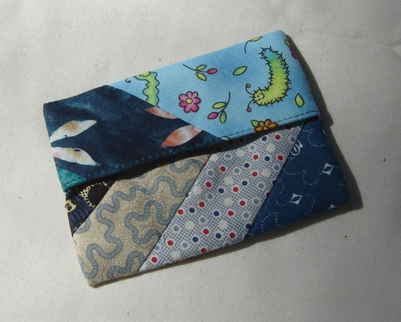 Scrappy Lined MINI FlipFlap Sack--Blue Snack Bag