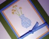 Flower Vase Greeting Card Blanks Inside, General Occasion, 5 cards