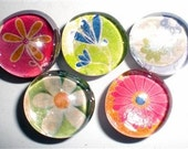 Colorful Flowers Marble Magnet Set