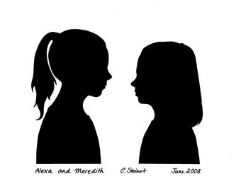 Two Classic Silhouettes looking at each other (handcut, not a print)