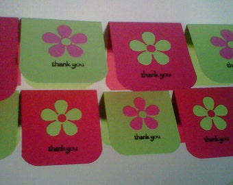 Retro Flower Thank You Mini Cards - Set of 8 - Lunchbox Notes - Pink and Green - Paper Goods - Stationery - Party Supplies - Kids Cards