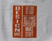 Design Advice - Orange on White Flour Sack Dish Towel
