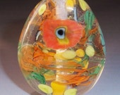 Spring Meadow Handmade Lampwork Glass Art Bead Flower Focal Coral Orange Green Yellow Floral