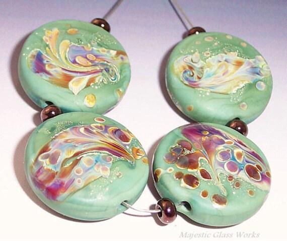 Aloe Terra - Set of Lampwork Beads - Aloe Green Etched sra