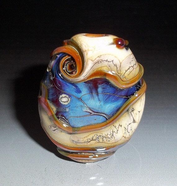 Lampwork Focal Bead  ORGANIC OCEAN WINDOWS Handmade Glass Art Ivory Silver Blue sra