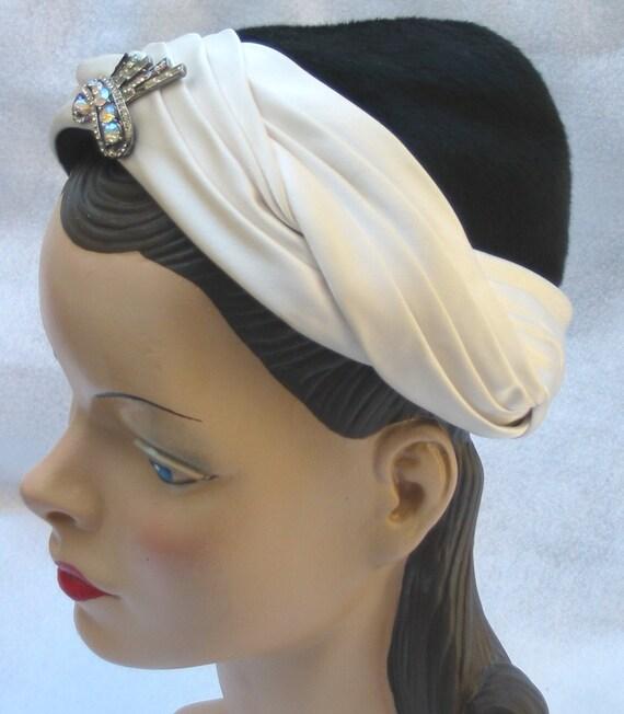 50's 60's Vintage Pixie Turban Hat From Bullock's Wilshire