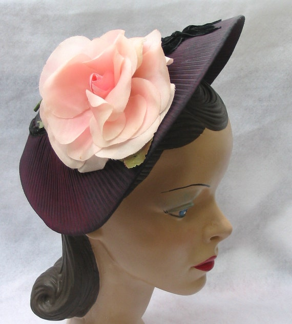 1950's Vintage Pleated Purple Hat with Pink Rose