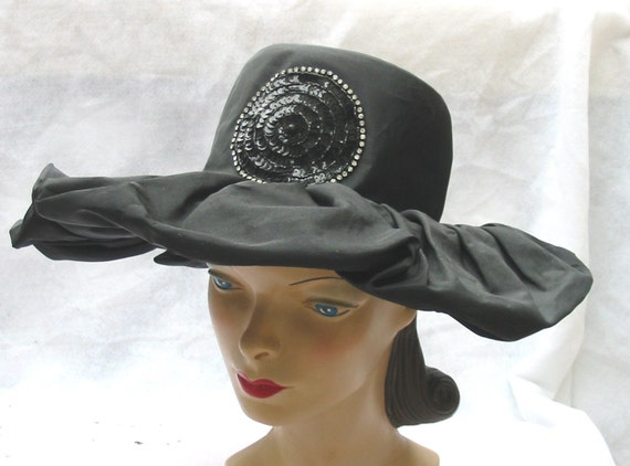 Clearance 50's 60's Vintage Wide Brim Ruffled Taffeta Hat with Sequins Marche' Exclusive 22