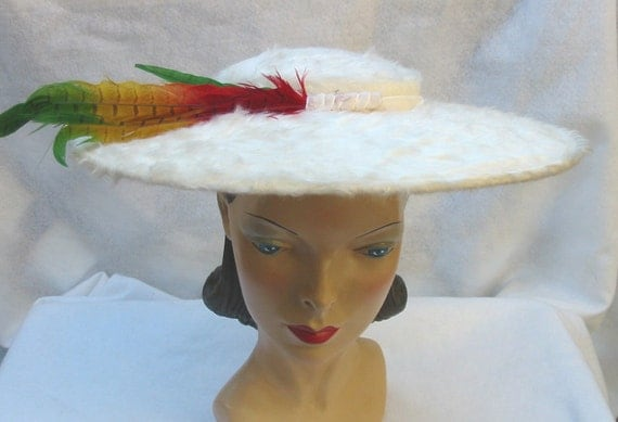 1950's Vintage Fuzzy White Wide Brim Hat with Colorful Feathers