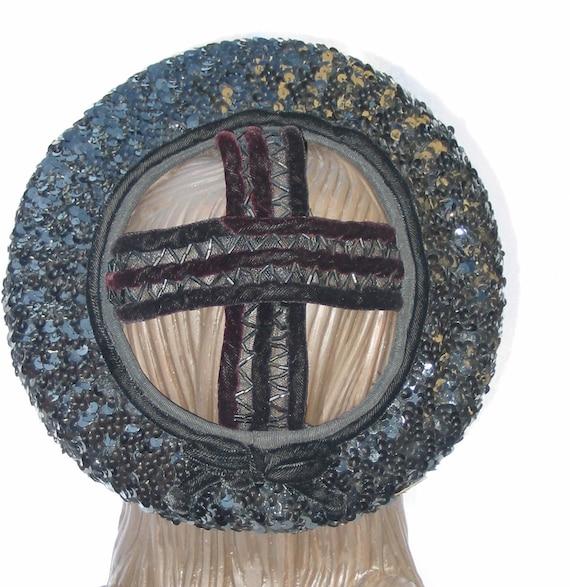 Clearance 1940's Vintage Crisscross Crown Black Sequin Hat 22