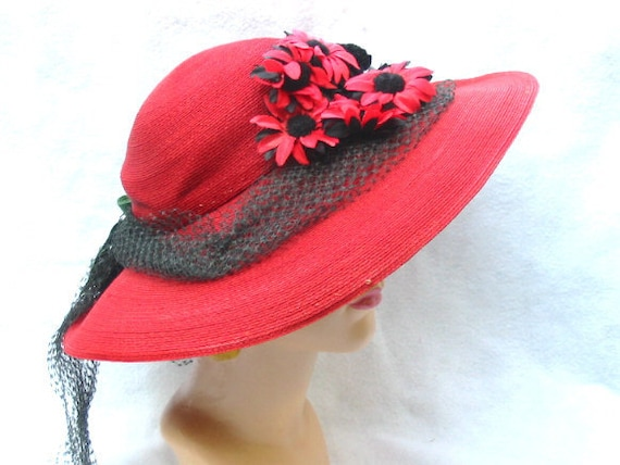 1930's Vintage Red Wide Brim Hat with Flowers Eleanor's Band Box New Jersey